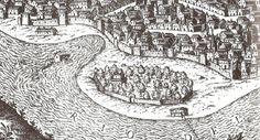 Detalle de la vista de  Nobílibus de 1585 en las que pueden verse los dos conjunto de molinos de rueda vertical. <3