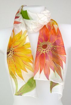 Handpainted silk scarf in red, yellow and gold, large, vibrant floral motive of asters. Hand painted silk shawl scarf in) Hand Painted Dress, Hand Painted Fabric, Painted Silk, Saree Painting, Fabric Painting, Silk Art, Silk Shawl, Shawls And Wraps, Silk Scarves