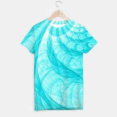 Aqua Marine Waves T-shirt, Live Heroes @liveheroes by photography_art_decor Tshirt Sale Available here: https://liveheroes.com/en/product/show/692886    #abstract #sea #aqua #marine #blue #tender #fractal #wave #curve #twist #curl #twirl #spiral #beach #home