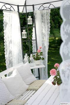 pergola, garden, white, rural, geraniums, romantic, patio, lace, lanterns, patio furniture, cushions