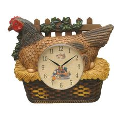 This fun clock features a hen on a nest and perhaps she s just about to lay another egg Made from quality plastic Measures 32 cm in width and 28 cm