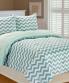 Another great find on #zulily! Blue Chevron Printed Bedding Set by THRO #zulilyfinds