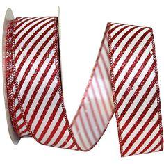 "1.5"" Glitter Candy Cane Stripe Ribbon (20 Yards) Thing 1, Wreath Supplies, Christmas Ribbon, Tiger Stripes, Wired Ribbon, Red Glitter, Candy Cane, Red Green, Red And White"