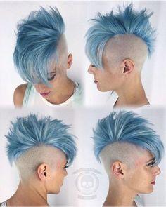 Metallic blue teal hair color for short hair Short Hair Cuts, Short Hair Styles, Short Punk Hair, Pixie Cuts, Shaved Hair Designs, Pastel Hair, Rainbow Hair, Pretty Hairstyles, Shaved Hairstyles