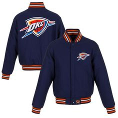Oklahoma City Thunder JH Design Women's Embroidered Logo Wool Jacket – Navy - $349.99
