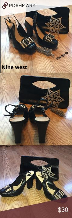 Nine West heels💄👠 Beautiful black leather upper Nine West thick 4.5' heels. Sexy detailed open toe with silver buckle, worn to a wedding , wear shown on the bottom no ware on material size 8m. Pick THEESE up for the holidays or any occasion 💋 Nine West Shoes Heels