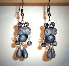 Ohrringe Nilpferd Tiere Damen Hänger Ohrschmuck Modeschmuck Sculpey Grau
