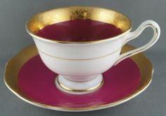 Vintage Royal Albert Regency Pink Cup & Saucer Crown circa 1935 heavy gold #RoyalAlbert