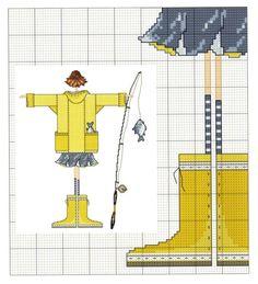 0 point de croix lulu belle avec canne à pêche - cross stitch girl, lady with fishing rod part1/4