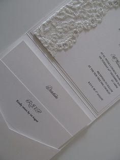 Vintage Lace, Pearls & Swarovski Crystal - Pocketfold Wedding Invitation Suite