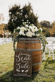 36 Rustic Wedding Decor For Country Ceremony ❤ rustic wedding decor for outdoo. 36 Rustic Wedding Decor For Country Ceremony ❤ rustic wedding decor for outdoor aisle with winebarrel greenery and white flowers nicole leever photography Wedding Ceremony Signs, Wedding Bride, Dream Wedding, Perfect Wedding, Rustic Wedding Signs, 2017 Wedding, Western Wedding Ideas, Cool Wedding Ideas, Outdoor Wedding Signs