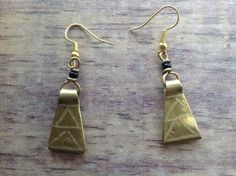 £5.00 Recycled Brass Earrings from Nairobi,Kenya, Triangular Drops. Handmade and #Fairtrade
