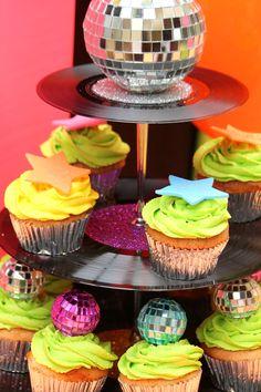 Record Cupcake stand #vinylcakestand #discoballcupcakes #discoparty