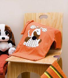 Camiseta com cachorro de patch apliquê / DIY, Craft, Upcycle