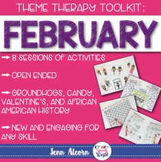 Groundhog Day, Candy, Valentine's Day, and African American History are themes covered in this download, which is a toolbox of material for you for the month! This download has you covered for 8 whole sessions (or more!) of speech therapy, centered around the themes happening in February. ALL of the activities are open ended to allow you the flexibility to address as many goals as necessary in your therapy groups!