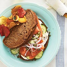 All your favoriate salmon accompaniments are layered onto one tasty Smoked Salmon Sandwich on Pumpernickel.