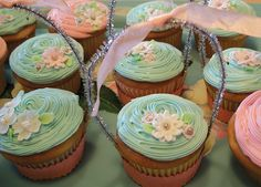 Explore Sugar & Meringue / E-A-T's photos on Flickr. Pretty pink and blue flower basket cupcakes