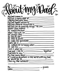About My Dad  Father's Day Activity Printable Kid Gift | Etsy