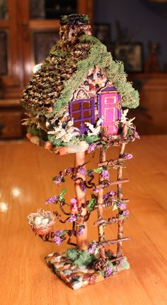 OOAK Miniature Fairy Treehouse, Fairy Garden House, Fairy Decor, Diorama Accessory, Terrarium Decor, Miniature Fairy Cottage, Mini Collectab by BeverlyJaneCreations on Etsy