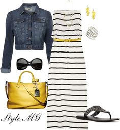 Cute dress! Like the skinny belt and denim jacket paired with a maxi dress.