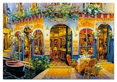 "Au Bon Chabrot is a 1500 piece jigsaw puzzle part of the Viktor Shvaiko artist series from Educa. Shvaiko is a Russian artist known for his scenes of cafés around Europe. Puzzle measures 33.5"" x 23.5"" when complete. Released 2013.  The Viktor Shvaiko series includes:   	Au Bon Chabrot 	London for Two 	Trattoria Tre Marchetti 	White Lion"