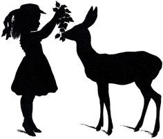 Deer-Silhouette-Girl-GraphicsFairy - The Graphics Fairy