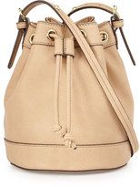 Neiman Marcus Sierra Faux-Leather Bucket Crossbody Bag, Buff