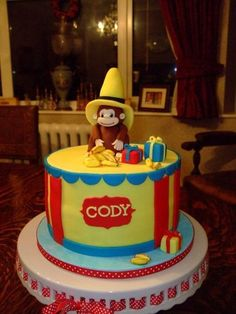 curious george Cake by delightful Grace picked this out Curious George Cakes, Curious George Birthday, Birthday Party Themes, 2nd Birthday, Birthday Ideas, Party Cakes, Fun Cakes, Cake Decorating Tools, Specialty Cakes