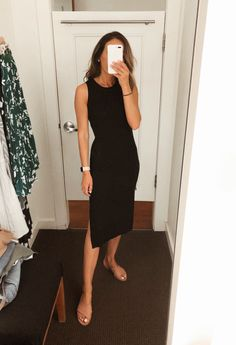 Black Dress Outfits, Casual Work Outfits, Professional Outfits, Office Outfits, Office Attire, Young Professional, Sunday Dress Outfit, Sweater Outfits, Work Outfits For Women