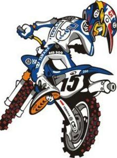 Yamaha Motocross, Motorcycle Art, Bike Art, Motos Trial, Bike Drawing, Bike Tattoos, Fox Racing, Dirtbikes, Custom Motorcycles