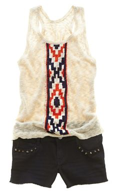 trend: tribal print; arizona sweater tank top and shorts