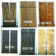 """Wood Shutters, Rustic exterior cedar shutters- """"Board and batten"""" – Exterior"""