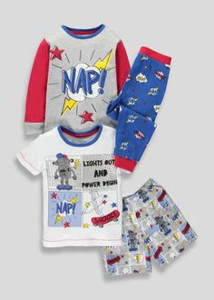 df6550ec4 Kids 2 Pack Robot Pyjamas (9mths-5yrs) – Grey