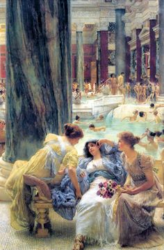 The Baths at Caracalla - Bathing - Wikipedia Lawrence Alma Tadema, Vintage Artwork, Vintage Posters, A4 Poster, Poster Prints, Canvas Artwork, Canvas Prints, Art Gallery, National Gallery