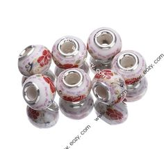 10x15mm Rose Painting 925 Sterling Silver Pottery European Charms Beads Fit Bracelet #eozy