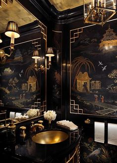 Home Design and Decor , Asian Style Home Decor Ideas : Powder Room With Chinese Asian Style Home Decor With Gold Undermount Sink And Faucet And Mirror Wuth Sconces And Black Walls With Art Black Interior Design, Interior And Exterior, Modern Interior, Interior Office, Luxury Interior, Room Interior, Architectural Digest, Home Design, Design Ideas