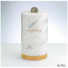 Marble Design Ceramic Tzedakah Box Tzedakah Box, Rosh Hashanah, Gold Accents, White Ceramics, Charity, Marble, Presents, Design, Home Decor