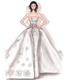 Beautiful illustrations of Rami Al Ali bridal collection created by Shamekh Bluwi Wedding Dress Sketches, Dress Design Sketches, Fashion Design Sketchbook, Fashion Illustration Sketches, Fashion Design Drawings, Fashion Sketches, Illustrations, Fashion Drawing Dresses, Fashion Dresses