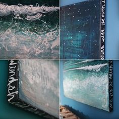 Night Swimming - a large original mixed media painting on canvas - deep blues, turquoise, teal oceanscape, beach waves, words and collage