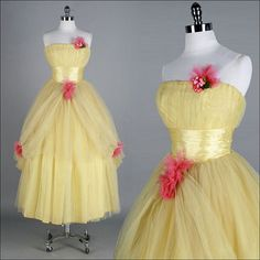 Vintage Dress Yellow Tulle Pink by millstreetvintage 1950s Party Dresses, Best Prom Dresses, Vintage 1950s Dresses, Retro Dress, Vintage Prom, Vintage Outfits, Vintage Fashion, Vintage Style, 60s Dresses