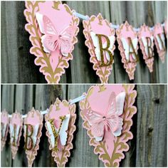Baby Butterfly Banner Baby Shower Banner Gold and Pink Baby Banner Baby Banner Pink and Gold Baby Girl Room Decor Baby Shower Gift Butterfly Baby Shower, Baby Shower Niño, Baby Shower Vintage, Baby Girl Shower Themes, Girl Baby Shower Decorations, Baby Shower Princess, Baby Shower Gifts, Bridal Shower, Butterfly Birthday