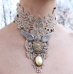 Steampunk choker Ivory venice victorian lacer collar with elegant pearl pendant angels wings skul watch necklace