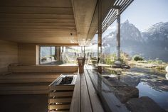 """escapekit: """"Valentinerhof hotel German studio Noa* has designed a stunning hotel located in Kastelruth village, near Dolomities in Italy. The Valentinerhof hotel is the perfect place to take a breathe. Blog Architecture, Detail Architecture, Vernacular Architecture, Hotels And Resorts, Best Hotels, Photo D'architecture, Terrasse Design, Saunas, Holiday Destinations"""