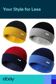 ba30949feba Beanie Hat Mens Womens Winter Warm Wool Ski Color Mixing Knitted Turn Up  Cap New