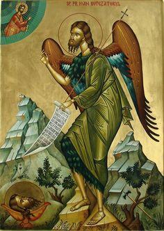 Byzantine Icons, Byzantine Art, Religious Paintings, Orthodox Christianity, Armor Of God, John The Baptist, Orthodox Icons, Saints, Artwork