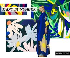 The Paint by Number trend is Graphic botanicals filled with flat colors creating a modern pop-art interpretation. We're taking cues from the work of Cassie Byrnes, Minda Jalling, and Ophelia Pang.