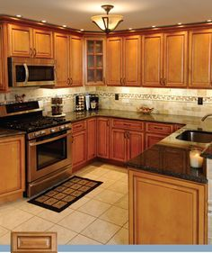 Superior Marvelous Light Caramel Rope Kitchen Cabinets With Black Granite Countertop  Combined With White Subway Tile Backsplash And Simple Pendant Lamps For  Best ...