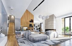 Projekt domu Wyjątkowy 2 201,09 m2 - koszt budowy - EXTRADOM Room Color Schemes, Room Colors, Architectural House Plans, Interior Architecture, Interior Design, Building A House, Family Room, House Design, House Styles