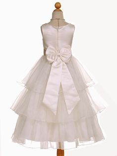 Elegant Ivory Satin 3-Tiered Flower Girl Dress with Changeable Sash - Junior Bridesmaid Dresses