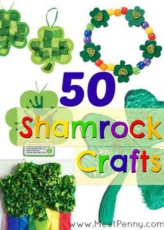 50 shamrock crafts for kids on St Patrick's Day! Loads of easy ideas and most of the supplies you probably already have.